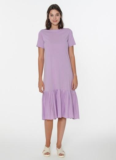 Loves You Eteği Piliseli Kısa Kol Cotton Elbise Lila